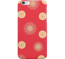 Cream floral pattern on red iPhone Case/Skin
