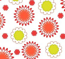 Green red floral pattern on white by cycreation