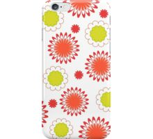 Green red floral pattern on white iPhone Case/Skin