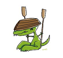 Funny dinosaur with a rowing boat by chrisbears