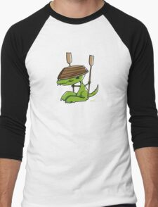 Funny dinosaur with a rowing boat Men's Baseball ¾ T-Shirt