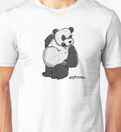 Drunken Panda Bear with Beer Bottle Unisex T-Shirt