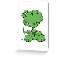 Funny sitting Dinosaur Greeting Card