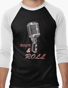 Rock and Roll, microphone Men's Baseball ¾ T-Shirt