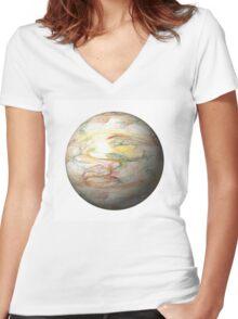 Fractal Globe Women's Fitted V-Neck T-Shirt