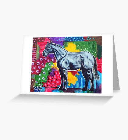'GREY HORSE (IN AN ABSTRACT LANDSCAPE)' Greeting Card