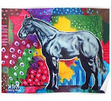 'GREY HORSE (IN AN ABSTRACT LANDSCAPE)' Poster