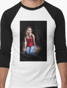 Sexy Blond Sitting Men's Baseball ¾ T-Shirt