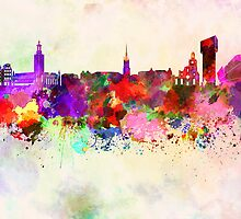 Stockholm skyline in watercolor background by Pablo Romero