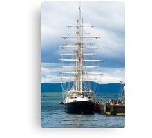 Ship, Sailing vessel, SV Tenacious, Docked, North pier, Oban  Canvas Print