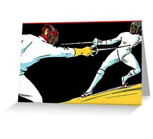 Fencing retro vintage style drawing Greeting Card