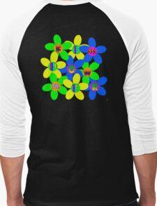 Flower Power 60s-70s T (back) Men's Baseball ¾ T-Shirt
