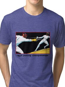 Fencing retro vintage style drawing Tri-blend T-Shirt