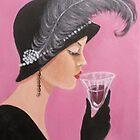 A LADY SIPPING WINE by Dian Bernardo
