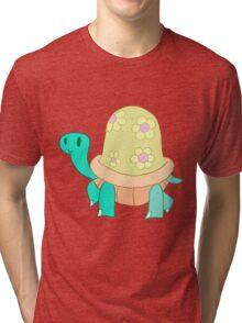 Cutesy Flower Turtle Tri-blend T-Shirt