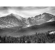 Longs Peak Winter View BW Photographic Print