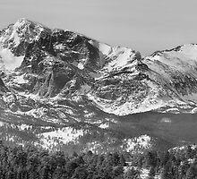 Ypsilon and Fairchild Mountain Pano RMNP BW by Bo Insogna