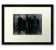 man with his head on fire  Framed Print
