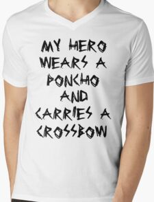 My Hero Wears a Poncho and Carries a Crossbow Mens V-Neck T-Shirt