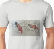 Two Abstract Brook Trout. Print of Embroidered Textile Unisex T-Shirt