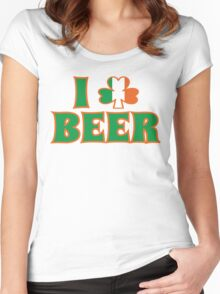 I Love Shamrock Beer St Patricks Day Women's Fitted Scoop T-Shirt