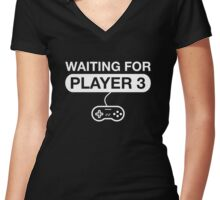 Waiting For Player 3 Women's Fitted V-Neck T-Shirt