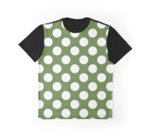 Polka Dots, Spots (Dotted Pattern) - Green White  Graphic T-Shirt