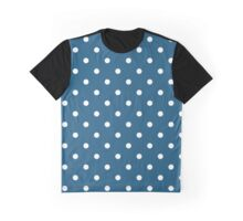 Polka Dots, Spots (Dotted Pattern) - Blue White  Graphic T-Shirt