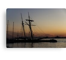 Climbing the Rigging - Sailors Silhouettes at the Hudson River Waterfront, New York City Canvas Print