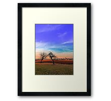 Trees, sunset, clouds, panorama and village | landscape photography Framed Print