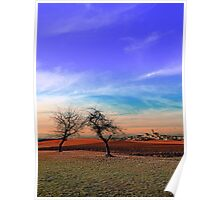 Trees, sunset, clouds, panorama and village | landscape photography Poster
