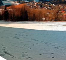 Winter wonderland and village skyline | landscape photography Sticker