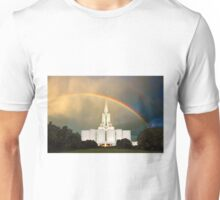 Jordan River Temple Under the Rainbow 30x20 Unisex T-Shirt