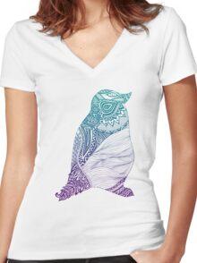 Duotone Penguin Women's Fitted V-Neck T-Shirt