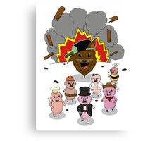6 little pigs and the party god Canvas Print