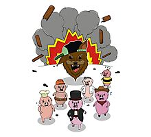 6 little pigs and the party god Photographic Print