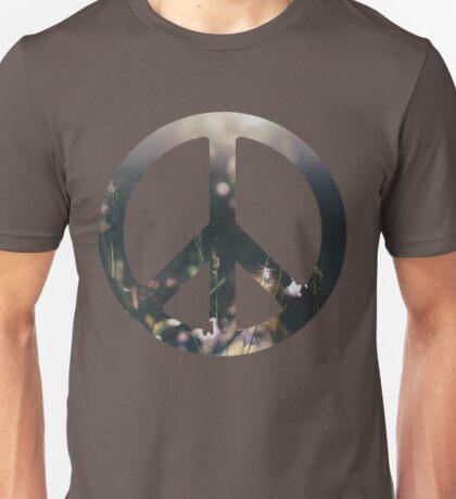 Peace Sign - Purple Flowers Unisex T-Shirt
