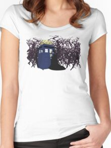 Maleficent and the Tardis Women's Fitted Scoop T-Shirt