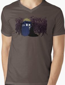 Maleficent and the Tardis Mens V-Neck T-Shirt