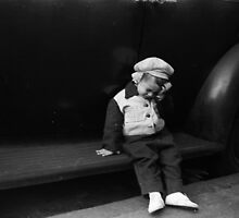 Dismayed Boy Leaning on Car, NYC 1949 by ckw2w