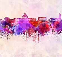 Helsinki skyline in watercolor background by Pablo Romero