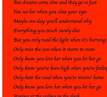 Let Her Go - Passenger Lyrics - red by musaique