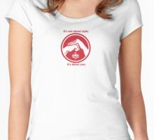 It's not about style. (Red text, small) Women's Fitted Scoop T-Shirt
