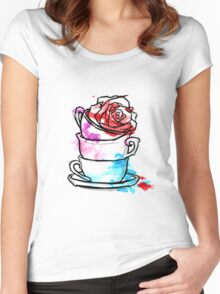 Watercolour Rose Teacups Women's Fitted Scoop T-Shirt