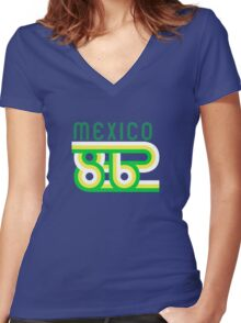 Retro Mexico '86 vintage soccer shirt Women's Fitted V-Neck T-Shirt