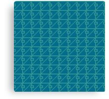 Geometric blue pixel pattern Canvas Print