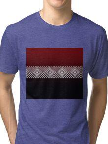 Red Black and White Latvian Lielvarde Belt motif Tri-blend T-Shirt
