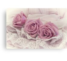 Roses And Beaded Lace  Canvas Print