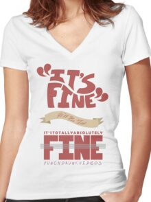 Caitlin - It's Fine Women's Fitted V-Neck T-Shirt
