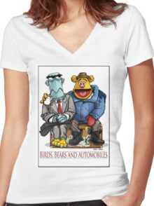 Birds, Bears and Automobiles Women's Fitted V-Neck T-Shirt